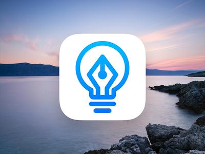 Papermind - Logo text icon bulb pen nib writing note app minimal idea logo branding