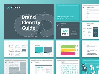 Brand Identity Guide icons palette logo visual construction print style guide book branding identity brand