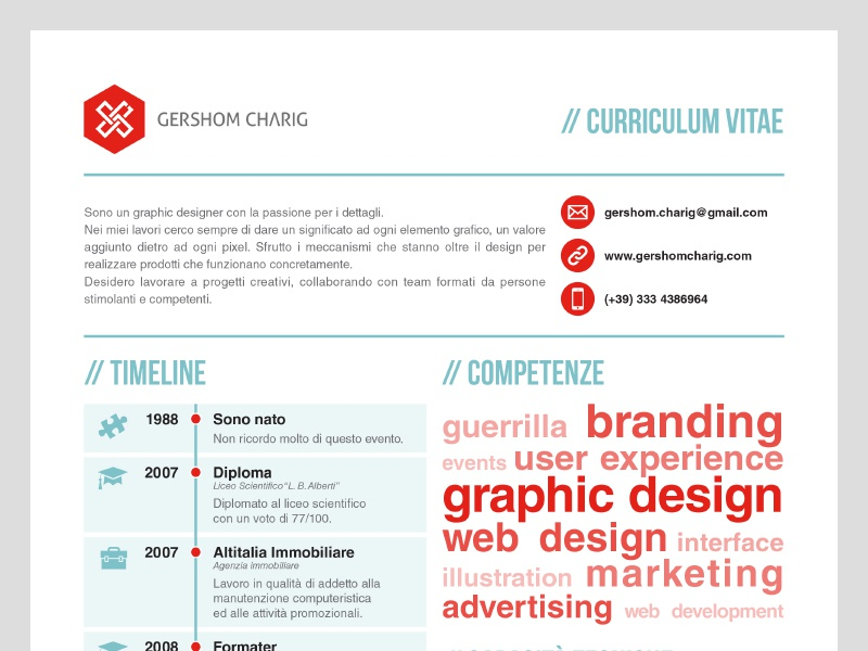 2012 Resume cv resume gc personal print logo icon red minimal paper timeline typography chart graph client curriculum