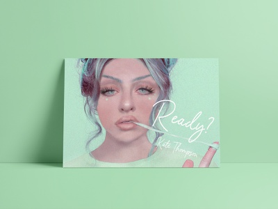 Ready? 2 mintgreen green poster illustration girl design