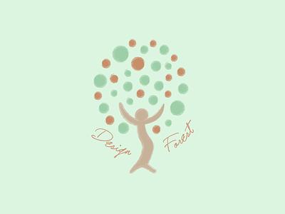 Design Forest green tree forest mint green logo