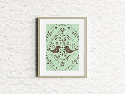 Scandinavian design series birds bird flowers illustration design