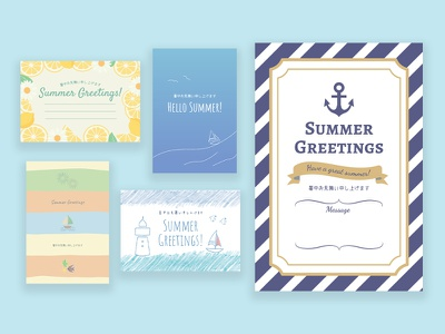 editorAC-Summer card sea ship blue card summer design