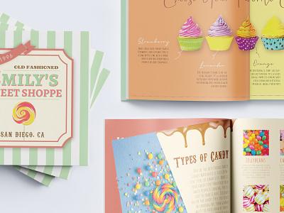 Emily's Sweet Shoppe Catalog rainbow colorful cake candy sweet cute catalog design catalog girl design