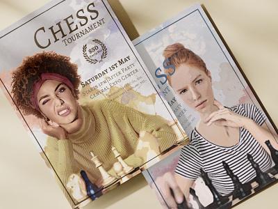 Chess Tournament flyer design poster brochure modern chess girls flyer design