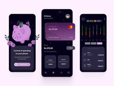 Concept design of a mobile app for financial control illustration design landing travel app ux ui design