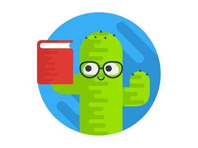 Book Worm Cactus imessage sticker glasses read books cactus bookworm