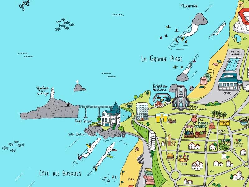 Biarritz Surf Map france summer surfers rocks ocean procreate illustration rafsdesign rafs84 map biarritz surf
