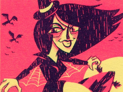 FFSF: SURF SAND WITCH illustration design monsters sports freaky funky duotone halftone trading card card risograph witch