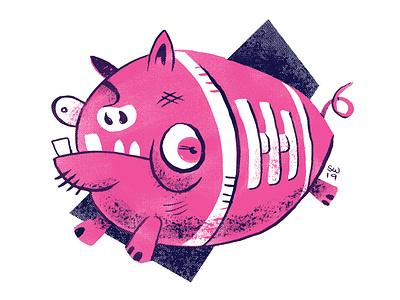 FFSF:  The Ol' Pigskin! duotone risograph trading card humor horror animal illustration branding