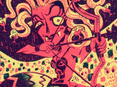 FFSF: BOA ARROW funky freaky goofy trading cards medusa risograph animal illustration monsters graphic design