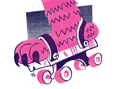 FFSF: RollerFoot halftone funky freaky roller skates trading card design risograph illustration monsters