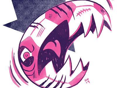 FFSF: SINISTER SOCCER BALL! monsters football soccer trading cards stock design risograph illustration