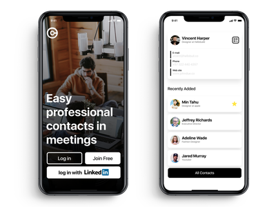 Professional contacts interface mobile sketch ui ux ios professional card professional app work meeting contacts