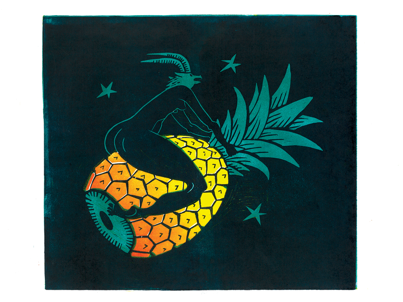 Pineapple lino landing page illustration hand printed relief print hand carved poster linoprint lino linocut