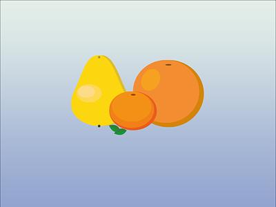 Fruit day ;) orange mandarin pear vector illustration ux ui dailyui design