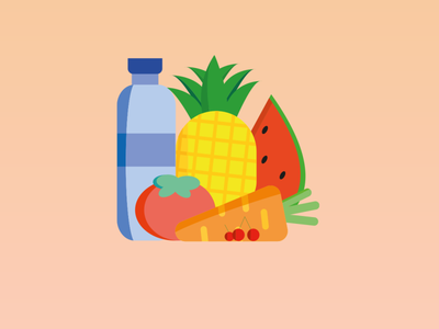 Healthy eating is the basis of life:) bottle water pineapple cherries tomatoes carrot watermelon vector illustration ux ui dailyui design