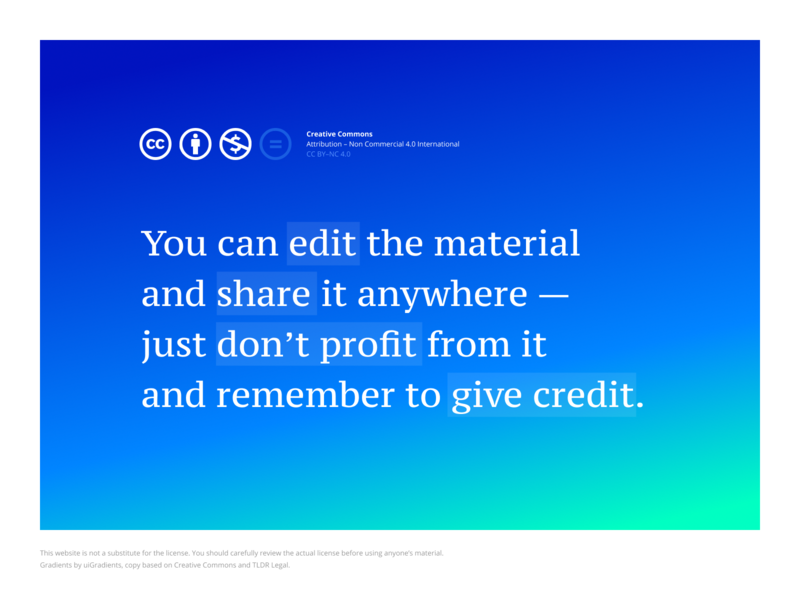 Creative Commons (by R64x) typography gradient demo prototype extract legal creative commons