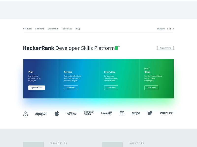 HackerRank Developer Skill Platform™ web design branding landing page marketing