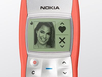 Nokia1100 + Tinder pixel dating nokia concept tinder fun ux app