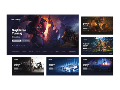 Y-GAMES / 6 Landing Pages game e-games landing page hearthstone rocket league league of legends counter-strike fifa 2016 dota 2 web design