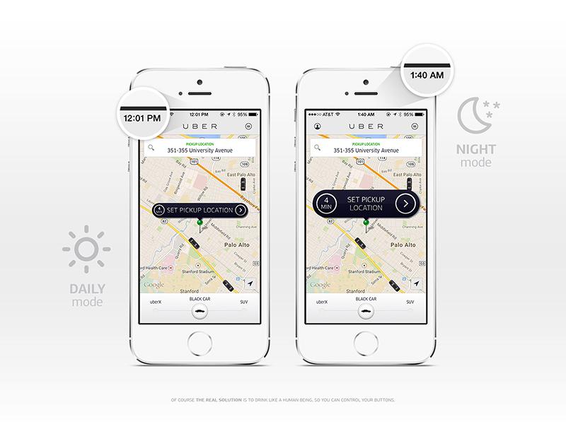 Night Mode / Uber {Design Exercise} vodka whisky rum tequila absinth wine beer ux mobile uber design makeitbetter