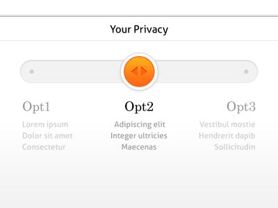 Dribbble privacy slider