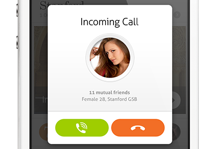Incoming Call circle simplicity simple clean retina iphone ui mobile call