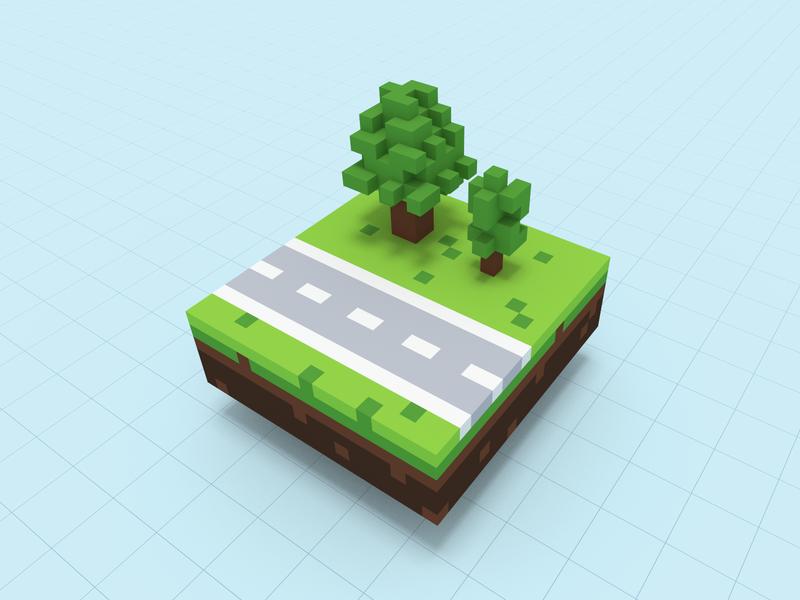 Voxel Environment voxels cubes design render experiment voxel art voxel 3d environment