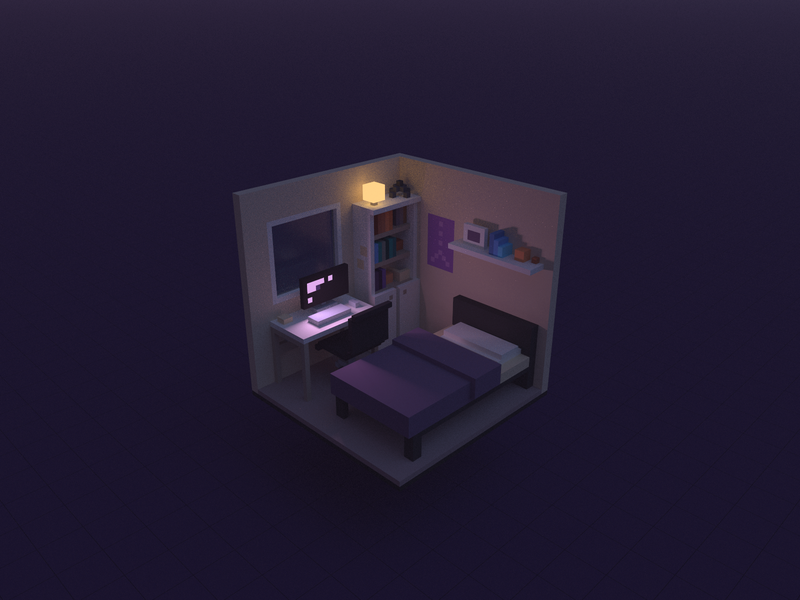 Computer Bed Room magicavoxel experiment 3d voxel render