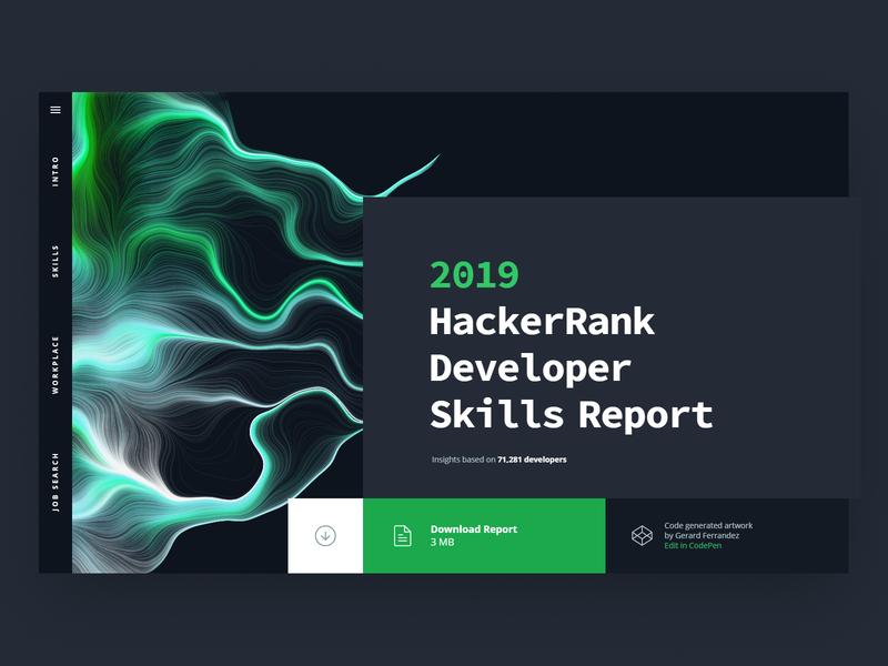 HackerRank 2019 Developer Skills Report illustrated by code generated code art website design survey data charts developer skills report