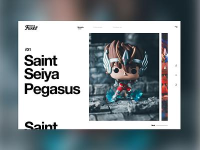 Saint Seiya #1 funko pop funko saint seiya caballeros del zodiaco anime design uidesign mondrianizm colorfull slider ui seiya saint