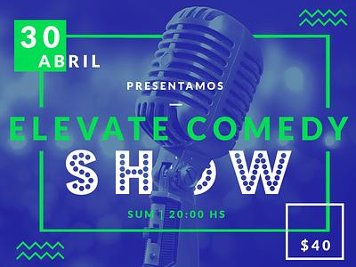 Poster Event  green microfono mic show comedia comedy evento event