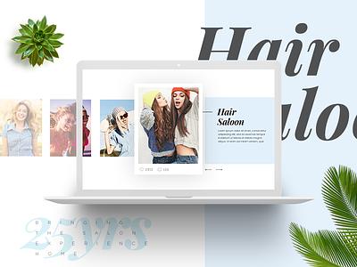 Hair saloon web hairdressing macbook photo plants colors woman cut saloon hair