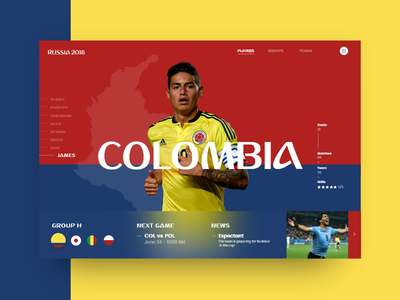 Russia World Cup - Colombia (Group H) james copa mundial futbol 2018 soccer slider cup world russia colombia