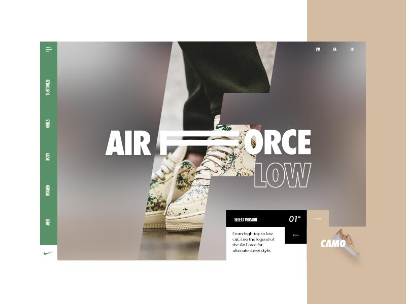 Nike Slider #5 - Select Model fashion ux ui design sneakers force air app nike green model