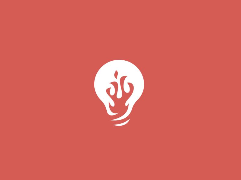 Inventing the fire lightbox invetion flame fire lightbulb light identity vector design letter simple illustration minimal branding logo