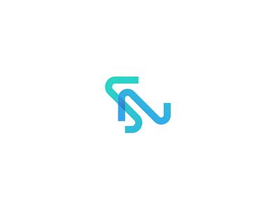 SN acronym n s ux typography letter calligraphy simple illustration identity minimal branding logo