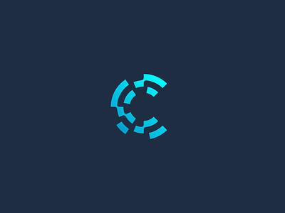 C blockchain crypto circle it data letter cletter c design simple minimal identity branding logo