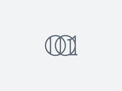001 line typography typo one zero numbers lettering ui design simple minimal identity branding logo