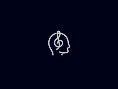 Music Listener noise studio earphones earbuds illustration logo lineart piano violin violin key enjoy album listen head headphones music
