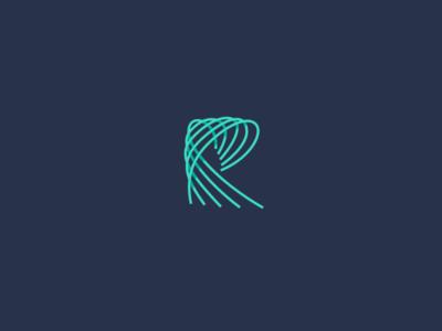 R lettermark neon stream logo letter r vawes wave radiate resonance