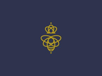 Queen Bee crown queen bee queen bee food animal calligraphy minimal illustration identity branding logo
