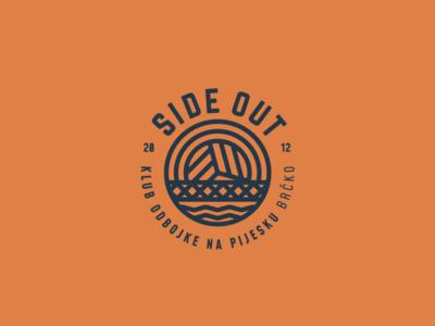 SideOut river volley beach beachball volleyball ball bridge design simple minimal illustration identity logo branding