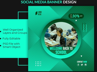 School social media banner design 2 design minimal clean flat twitter banner instagram post facebook ad social media banner graphic design social media design