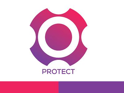 Protect logo logodesign logotype red blue shield shield logo protection protect protector protect logo app branding designer vector clean design icon logo minimal flat