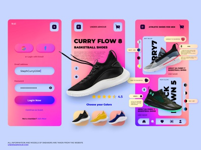 Sneakers Shop - UnderArmour - Concept concept sneakers sport shoes shoe shot shop ux ui minimal icon branding mobile design app design app
