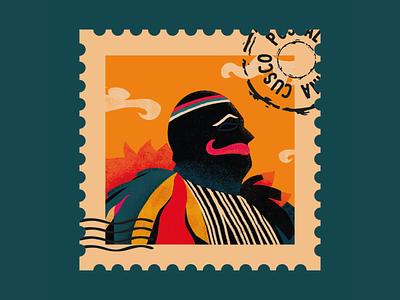 Ukuku Stamp ukuku digital art flat illustration flat design flatdesign culture peruvian peru stamp postal