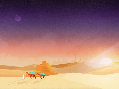 Jack's Camel Pack rocks sand desert moon sun person camel gradient grundge textures landscape