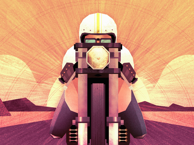 Tunnel Vision landscape painting ride sunset helmet ps ai raster vector texture bike motorcycle